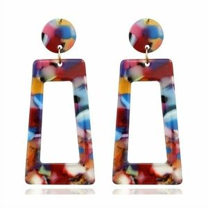 Acrylic Acetate Multi Color Earrings NEW Dangle